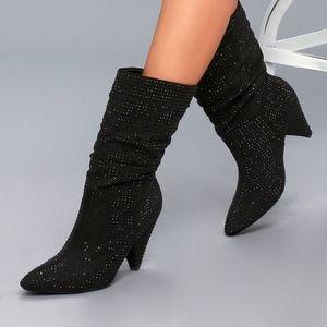 Black Shimmer Slouchy Rhinestone Boots